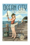 Ocean City, New Jersey - Fishing Pinup Girl Prints by  Lantern Press