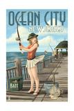 Ocean City, New Jersey - Fishing Pinup Girl Prints