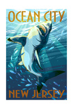 Ocean City, New Jersey - Stylized Shark Art by  Lantern Press