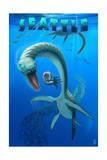 Seattle, Washington - Plesiosaurus Dinosaur Prints by  Lantern Press