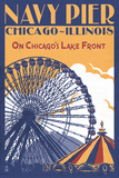 Chicago Illinois - Navy Pier Prints by  Lantern Press