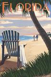 Adirondack Chairs and Sunset - Florida Posters af Lantern Press
