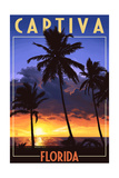Captiva, Florida - Palms and Sunset Posters by  Lantern Press