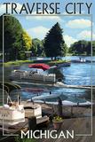 Traverse City, Michigan - Pontoon Boats Print