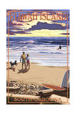 Kaiwah Island, South Carolina - Sunset Beach Scene Art by  Lantern Press