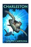 Charleston - South Carolina - Sea Turtle Diving Schilderijen van  Lantern Press