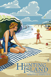 Hunting Island, South Carolina - Woman on Beach Posters by  Lantern Press