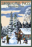 Snoqualmie Pass, Washington - Snowman Scene Posters by  Lantern Press