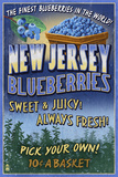 New Jersey - Blueberry Farm Vintage Sign Prints