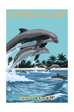 Dolphins Jumping - Seabrook Island, South Carolina Art by  Lantern Press
