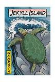 Jekyll Island, Georgia - Sea Turtles Woodblock Print Poster van  Lantern Press