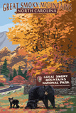 Great Smoky Mountains - Park Entrance and Bear Family Prints by  Lantern Press