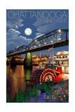 Chattanooga, Tennessee - Skyline at Night Poster par  Lantern Press