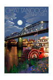 Chattanooga, Tennessee - Skyline at Night Poster by  Lantern Press