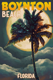 Boynton Beach, Florida - Palms and Moon Poster by  Lantern Press