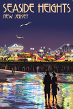 Seaside Heights, New Jersey - Pier at Night Poster by  Lantern Press