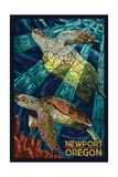 Newport, Oregon - Sea Turtle Mosaic Posters van  Lantern Press