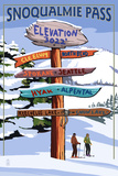 Snoqualmie Pass, Washington - Ski Signpost Prints by  Lantern Press