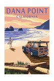 Dana Point, California - Woody on Beach Print by  Lantern Press