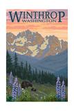 Winthrop, Washington - Bear Family and Spring Flowers Art by  Lantern Press