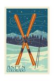 Aspen, Colorado - Crossed Skis Prints by  Lantern Press