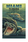 Miami, Florida - Alligators Prints by  Lantern Press