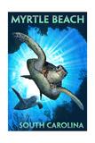 Myrtle Beach - South Carolina - Sea Turtle Diving Posters van  Lantern Press
