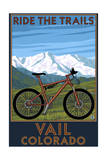 Vail, Colorado - Ride the Trails, Mountain Bike Art by  Lantern Press