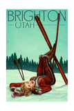 Brighton, Utah - Ski Pinup Prints by  Lantern Press