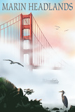 Marin Headlands - Golden Gate Bridge in Fog Prints by  Lantern Press