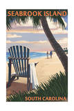 Seabrook Island, South Carolina - Adirondack and Palms Print by  Lantern Press