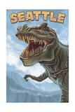 Seattle, Washington - T Rex Dinosaur Prints by  Lantern Press