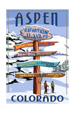Aspen, Colorado - Ski Signpost Print by  Lantern Press