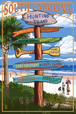 Hunting Island, South Carolina - Sign Destinations Prints by  Lantern Press
