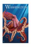 Washington - Red Octopus Prints by  Lantern Press