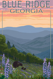 Blue Ridge Georgia - Bear Family and Spring Flowers Poster by  Lantern Press