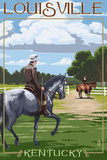 Louisville, Kentucky - Horse Riders Poster by  Lantern Press