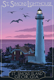St. Simons, Georgia - Lighthouse Prints by  Lantern Press