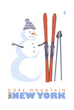 Gore Mountain, New York - Snowman with Skis Art by  Lantern Press