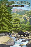 Great Smoky Mountains, North Carolina - Bear Family and Creek Prints by  Lantern Press