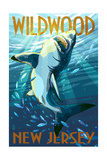 Wildwood, New Jersey - Stylized Shark Prints by  Lantern Press