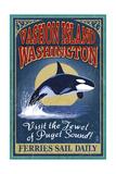 Vashon Island, Washington - Orca Whale Vintage Sign Posters af  Lantern Press