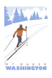 Cross Country Skier - Mount Baker, WA Poster by  Lantern Press