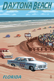 Daytona Beach, FL - Daytona Beach Racing Scene Art by  Lantern Press