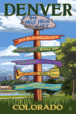 Denver, Colorado - Destinations Signpost Posters by  Lantern Press