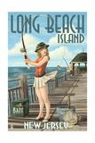 Long Beach Island, New Jersey - Fishing Pinup Girl Poster by  Lantern Press