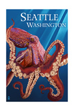 Seattle, WA - Red Octopus Prints by  Lantern Press