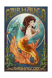 Fairhaven, Washington - Mermaid Art by  Lantern Press