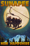 Sunapee, New Hampshire - Ski Lift and Full Moon Posters by  Lantern Press