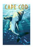 Cape Cod, Massachusetts - Great White Shark Art by  Lantern Press